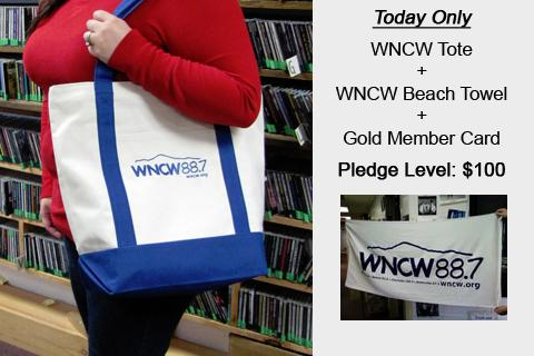 The WNCW Tote, Towel, and Gold MemberCard Combo is available at the $100 pledge level.
