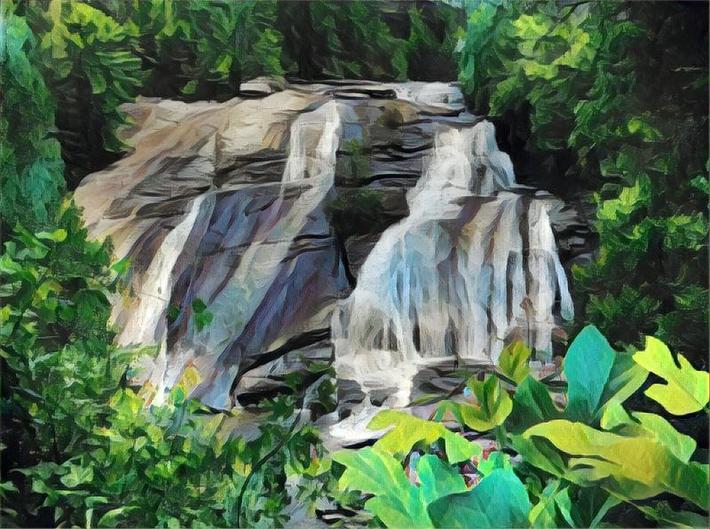 Art image of a waterfall in north carolina