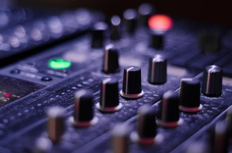 mixer knobs on sound recording panel