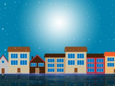 Graphic of blue sky and sunshine with houses in the foreground