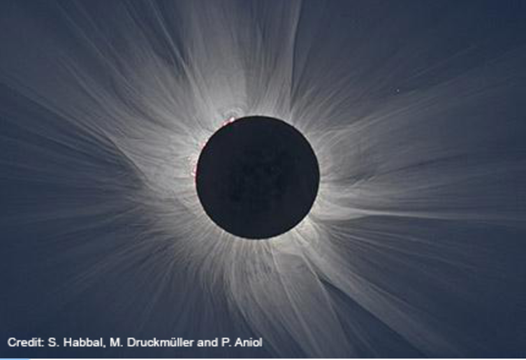 Black and white image of solar eclipse