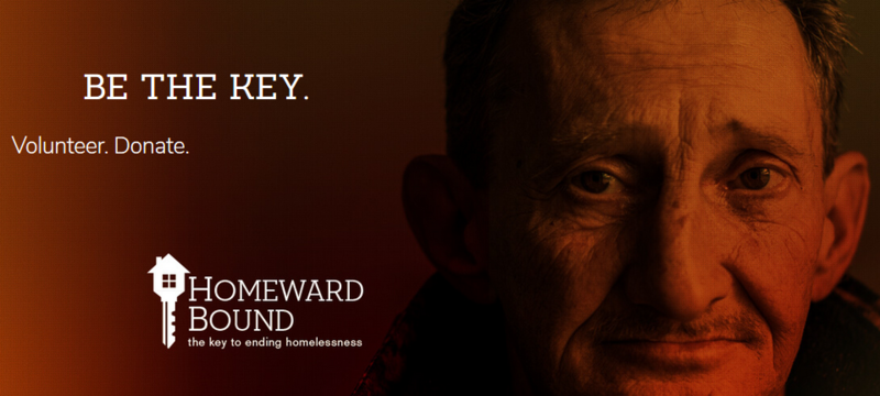 "Image of elderly man with the words ""Be The Key"" Volunteer. Donate. Homeward Bound."