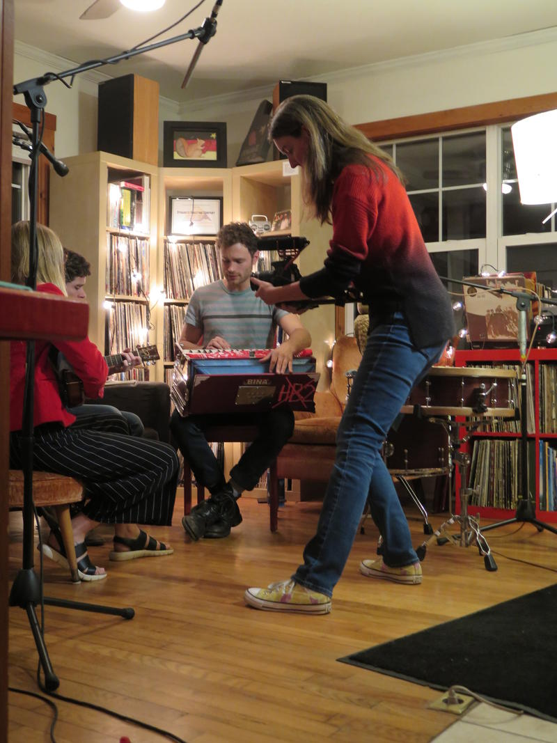 Carolyn Young filming for NPR's Night Owl series