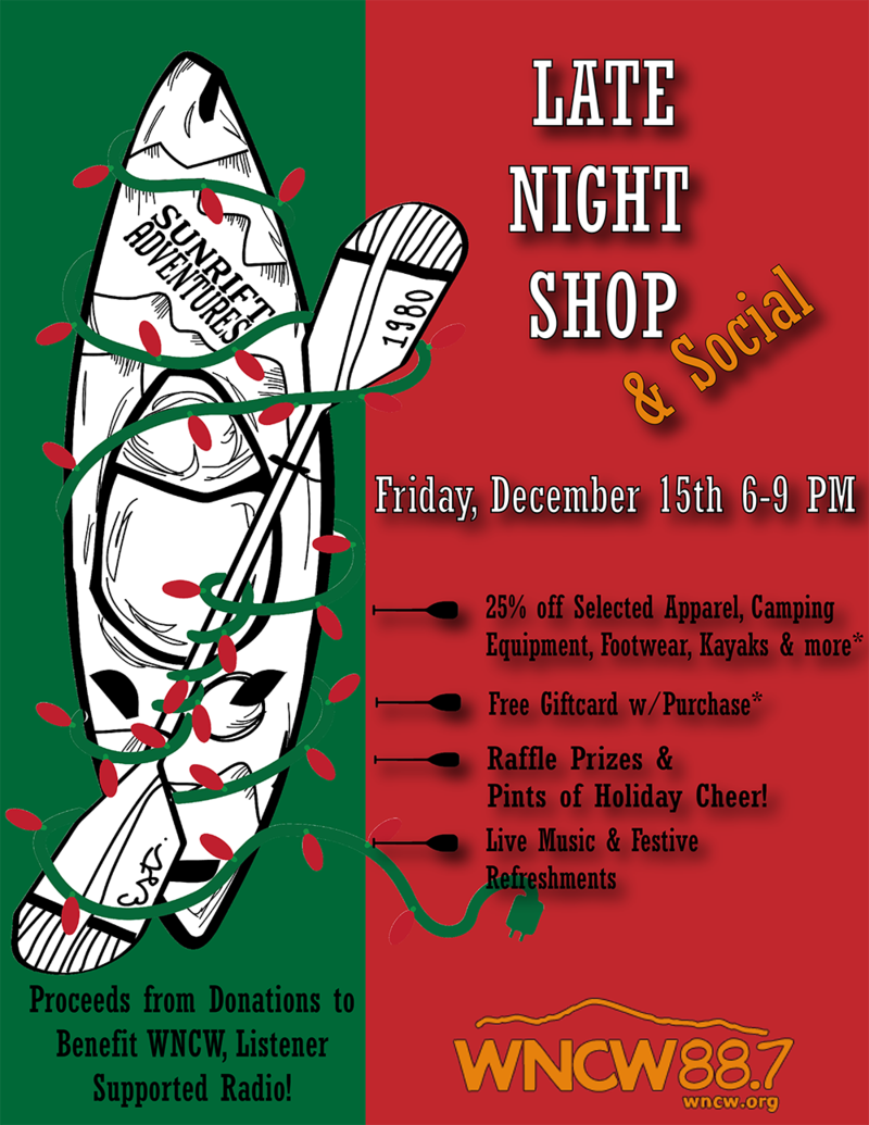 Sunrift Adventures: Late Night Shop & Social, Proceeds from Donations to Benefit WNCW