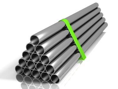 Image of steel pipes stacked up together
