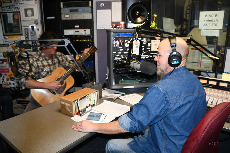Scotty on the air with Woody Platt, Graham Sharp, and Mike Ashworth of the Steep Canyon Rangers