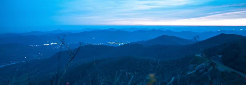 Blue ridge mountains sunset at dusk