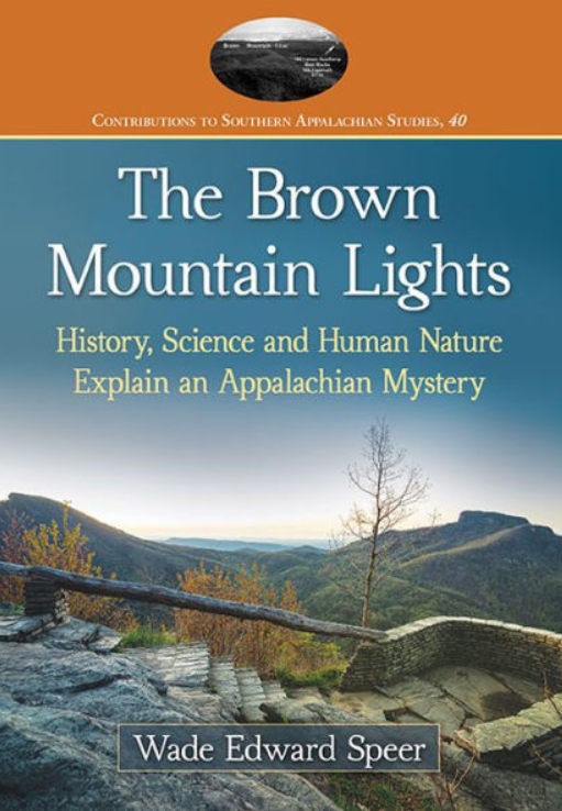 Image of book cover Brown Mountain Lights - Graphic of Wiseman's View in Mountains of NC