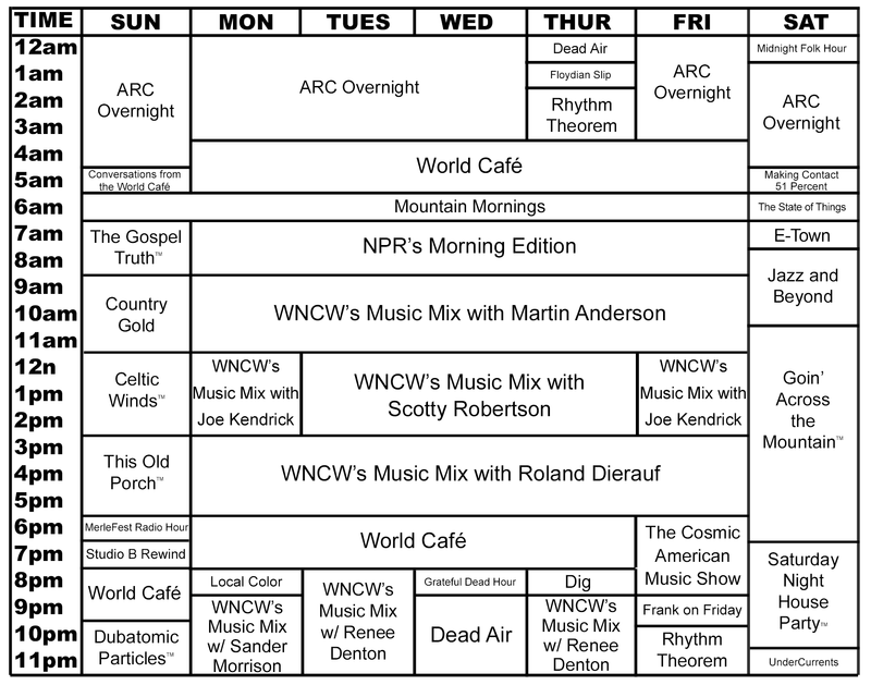 WNCW Program Guide reflecting changes that will begin March 2