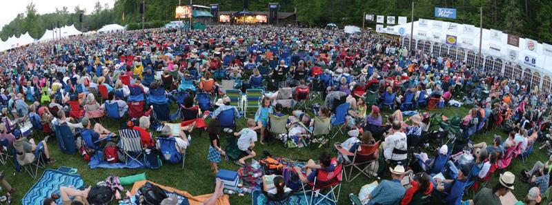 Crowd of people at MerleFest festival.