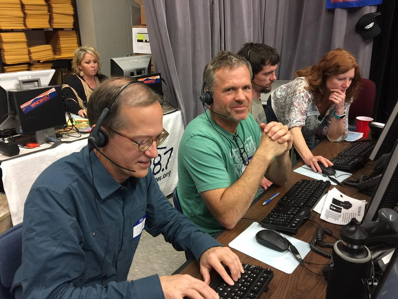 Charlie, Jeff, James, and Brenda answering phones during WNCW's Spring Fund Drive 2018.