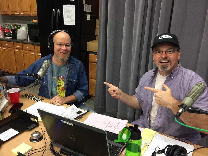 Scotty and Joe at the pitch table in Studio B during the 2018 Spring Fund Drive.