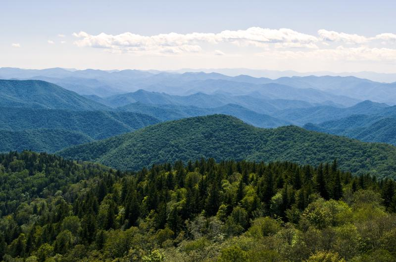 Image of blue ridge mountains with blue and green vistas
