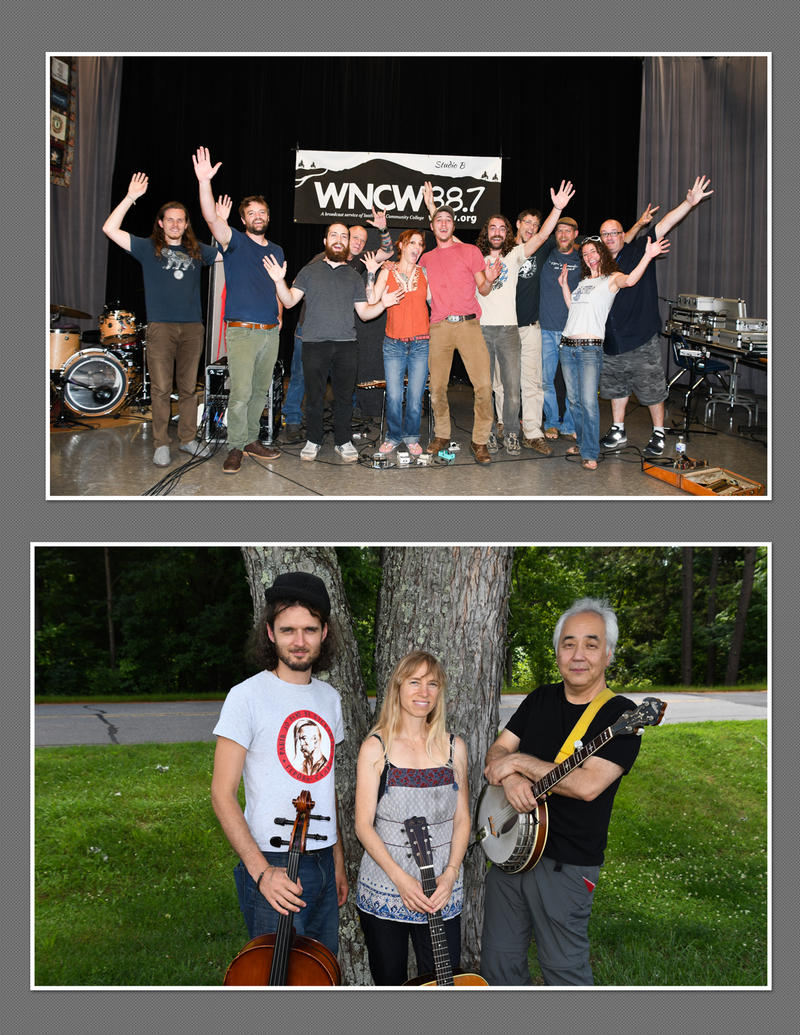 Image of band members with hands in the air in first picture then band members with instruments in second image