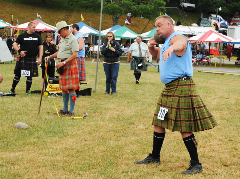 competitors at Grandfather Mtn Highland Games