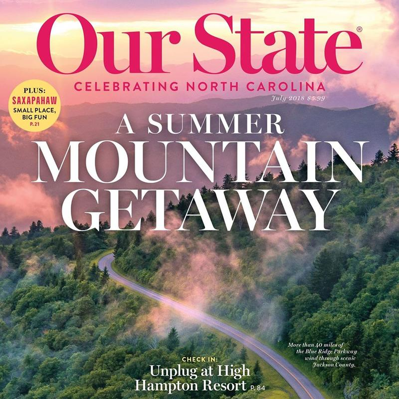 Image of cover of magazine for Our State featuring a picture of the Blue Ridge Parkway