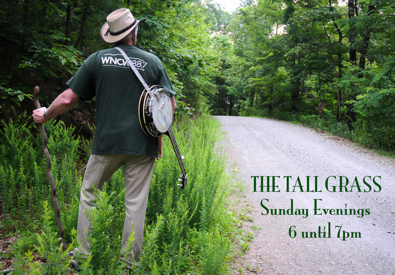 Image of man walking in tall grass, wearing a hat and carrying a banjo