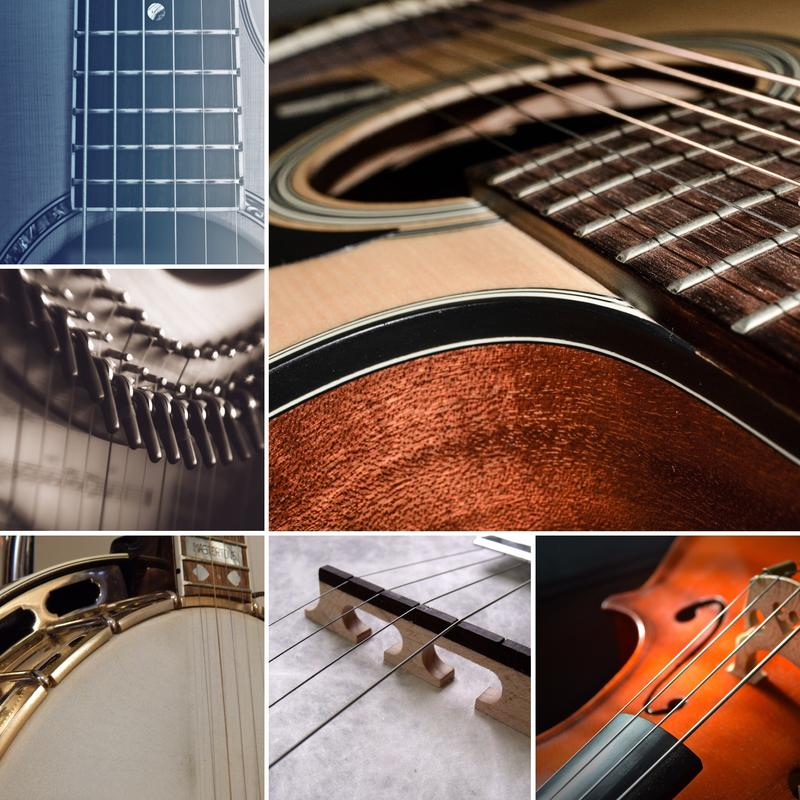collage of music instruments