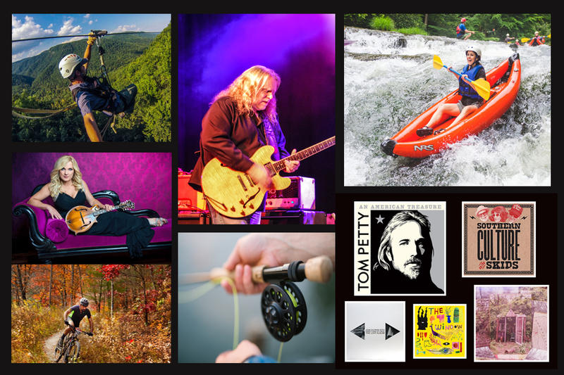 Collage of images featuring people having fun fishing, kayaking, cycling as well as musicians Warren Haynes and Rhonda Vincent