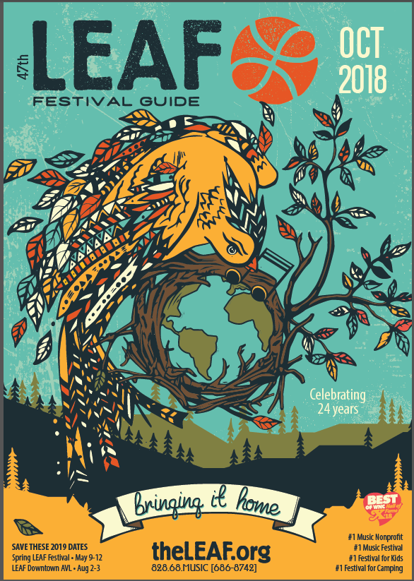 Poster promoting LEAF Festival in Black Mountain, NC