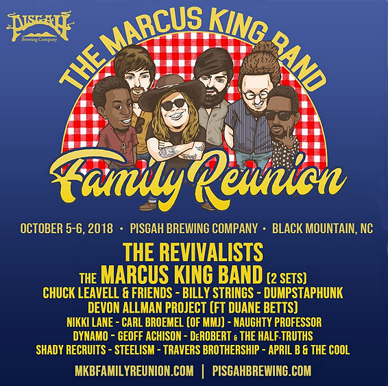 Psoter of festival featuring Marcus King, family and friends