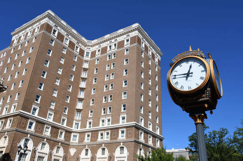 Image of building and clock in downtown Greenville SC