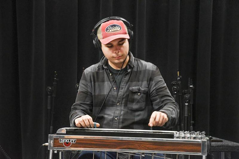 Slide man playing music