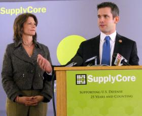 U.S. House members Cheri Bustos and Adam Kinzinger talk about sequestration after a tour of SupplyCore in Rockford.