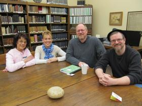 Left to right: Princeton Public Library Curator Margaret Martinkus, Princeton Tourism & Marketing Director Joni Hunt, Princeton Public Library Programming & Marketing Director Ron McCutchan and Festival 56 Director and founder Dexter Brigham.