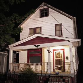The home in Cleveland where three young women who had been missing for 9 to 11 years were found on Monday.