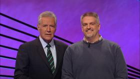 Tim Anderson (right) with Jeopardy! host Alex Trebek