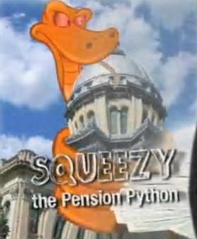 "Pension mascot ""squeezy"" developed as part of Governor Pat Quinn's social media strategy"
