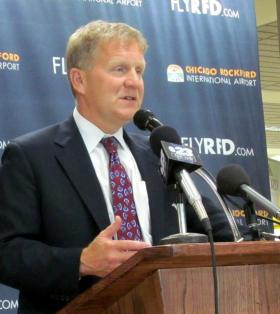 Illinois House Republican Leader Tom Cross at Chicago-Rockford International Airport in 2012.