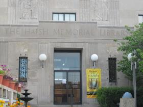 Front entrance to the DeKalb Library. Under the current expansion plan, this entrance would be closed off