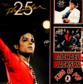 Detail of an autographed Michael Jackson collage formerly owned by Jesse Jackson, Jr.
