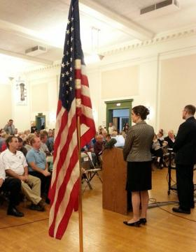 Dixon's Finance Director Paula Meyer and Police Chief Danny Langloss lead the town hall meeting.
