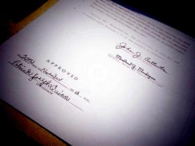 Governor Pat Quinn's signature on the document making same-sex marriage legal in Illinois.
