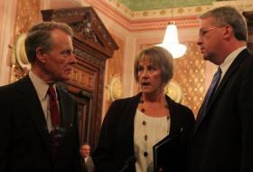 House Speaker Mike Madigan, Senate Republican Leader Christine Radogno and House Republican Leader Jim Durkin