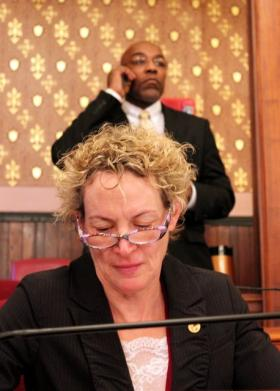 State Representative Elaine Nekritz and Senator Kwame Raoul working as the pension overhaul nears a vote Tuesday.