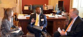 File photo: Senator Dick Durbin (D-IL) meet with U.S. Rep. Cheri Bustos (IL-17) and Director of the Federal Bureau of Prisons Charles Samuels to discuss Thomson Prison. (August 2013)