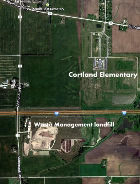 Cortland Elementary School in relation to Waste Management's DeKalb County landfill.