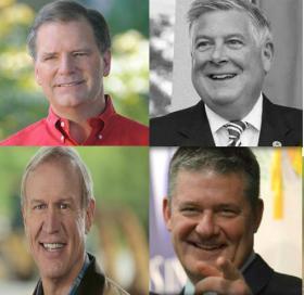 Upper left: Bill Brady. Upper right: Kirk Dillard. Lower left: Bruce Rauner. Lower right: Dan Rutherford