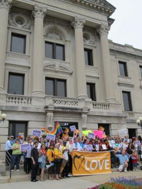 Civil Union supporters gather on the DeKalb County Courthouse steps during a 2011 rally.