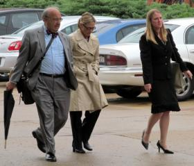 Rita Crundwell and her attorneys leave federal court in Rockford (May 2012)