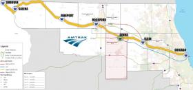 The previous Amtrak map for northwest Illinois