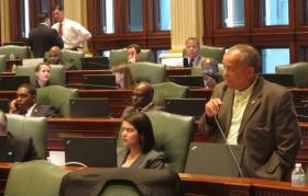 Rep. Luis Arroyo, D-Chicago, presents budget legislation Tuesday in the Illinois House of Representatives.