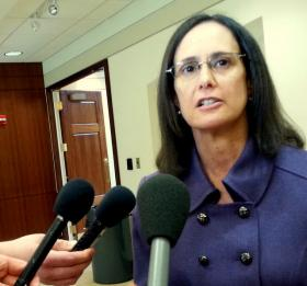 Illinois Attorney General Lisa Madigan speaks with reporters at Northern Illinois University.