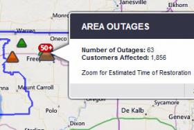 ComEd map of power outages, as of Tuesday evening.