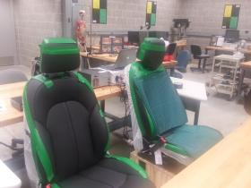 2 test seats with massage technology (From left to right: Audi manufactured, and Prototype seat)