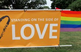 Signs at a civil unions rally in Sycamore, IL